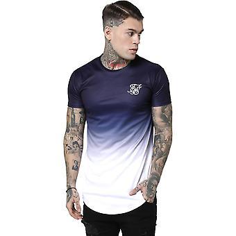 Sik Silk Curved Hem T-Shirt Navy 03
