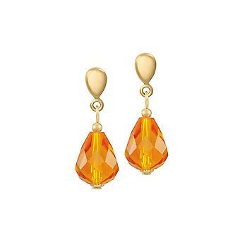 Eternal Collection raffinement Amber krystall gull tone drop Clip på øredobber