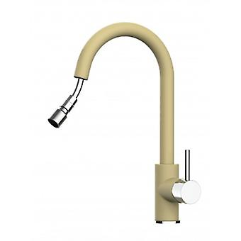 Cream Kitchen Single-lever Sink Mixer With Extractable Shower And High Swivel Spout - 475