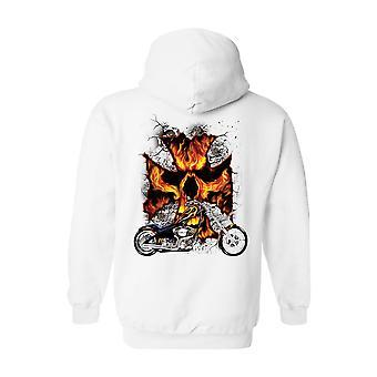 Unisex Zip upp Hoodie motorcykel Flames skalle kors