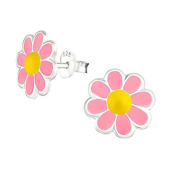 Flower - 925 Sterling Silver Colourful Ear Studs - W15181x