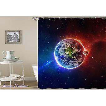Plant Earth And The Moon Shower Curtain