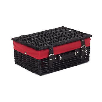 36cm tom svart vide picknickkorg med rött foder