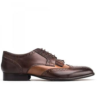 Base London Bartley Brogue Mens Burnished Deri Dantel Up Ayakkabı Tan/kakao