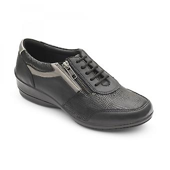 Padders Steffi 2 Ladies Leather Wide (e/2e) Shoes Black