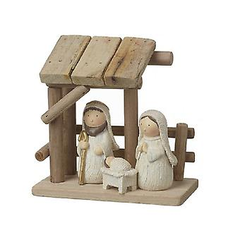 Wooden Nativity Scene with Resin Figures
