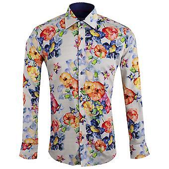 Claudio Lugli acuarela flores impresión hombres camisa