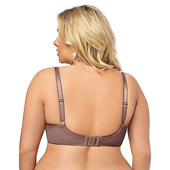 Gorsenia K494 Women's Hot Chocolate Mocca Brown Lace Non-Padded Underwired Full Cup Bra