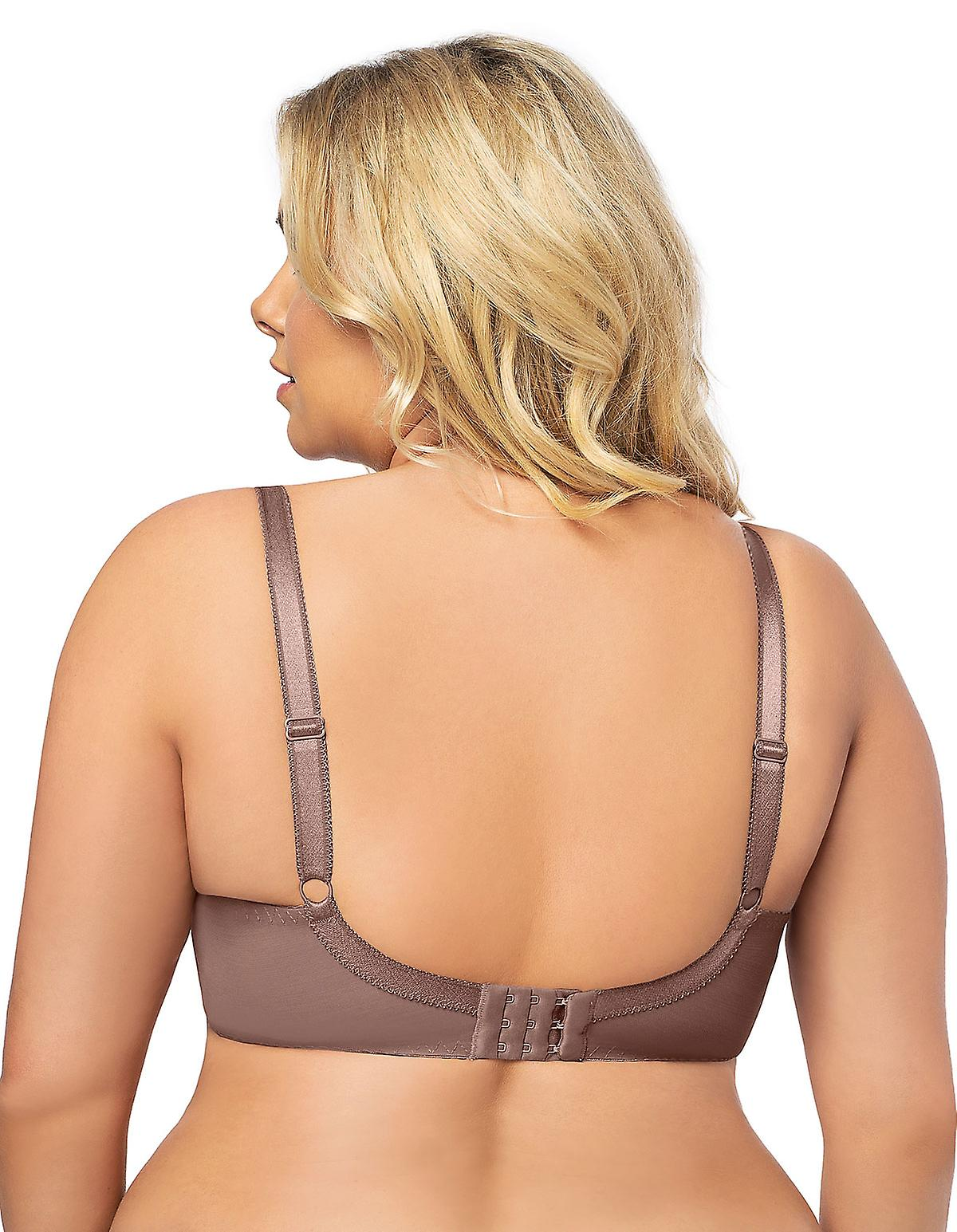 Gorsenia K494 Womens Hot Chocolate Mocca Brown Lace Non-Padded Underwired Full Cup Bra