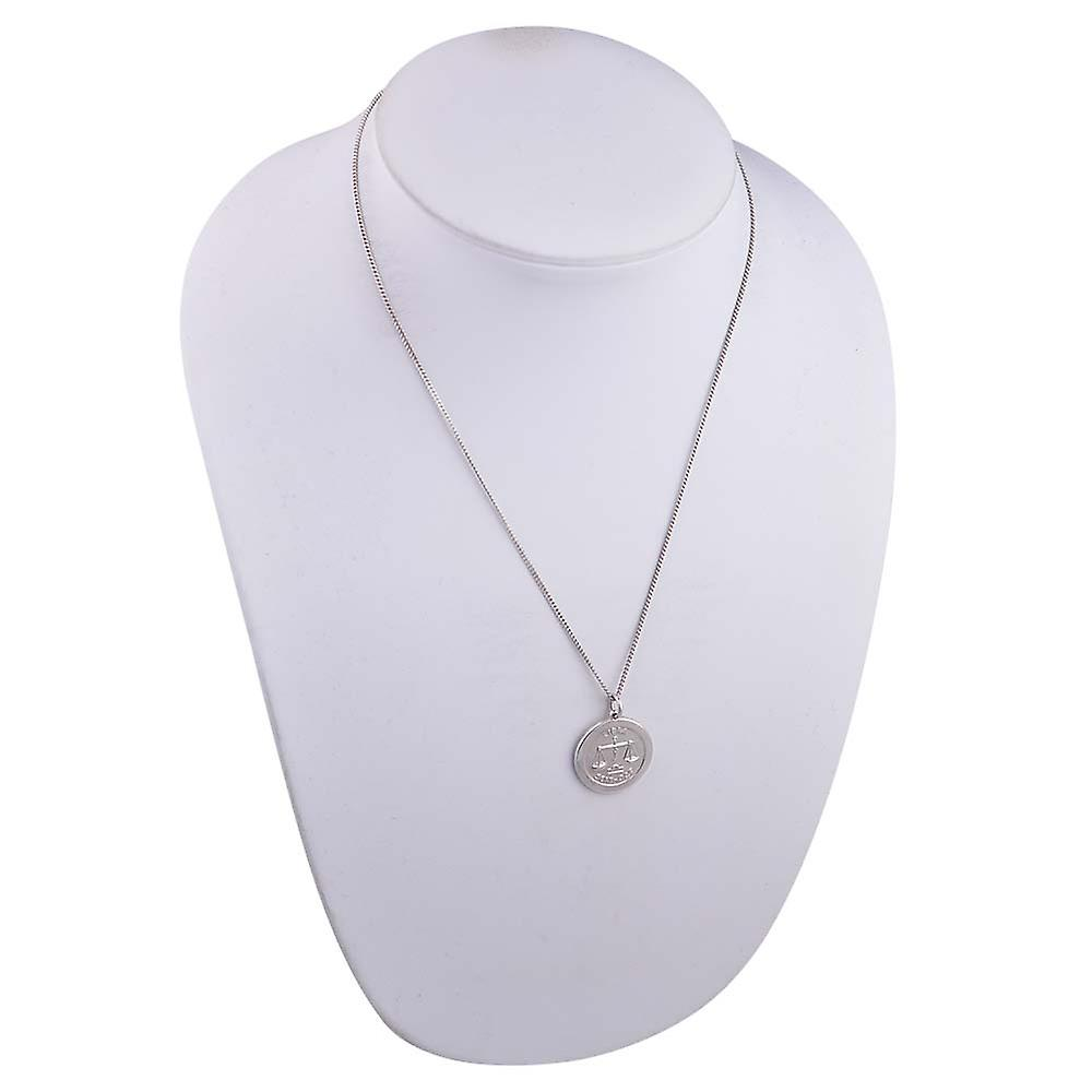 Silver 22mm round Libra Zodiac Disc Pendant with a 1.3mm wide curb Chain 18 inches