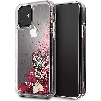 מניח כיסוי קשיח מקרה מגן עבור iPhone של אפל 11 מקרה אדום נצנצים לב במקרה
