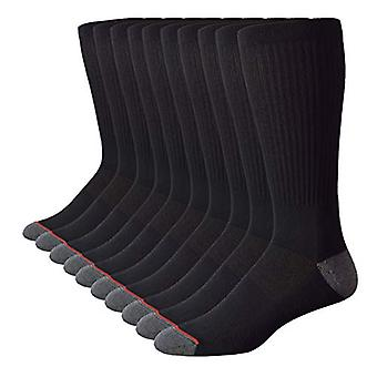 TOP STEP 10 Pair Mens Cotton Moisture Wicking Cushioned Crew, Black, Size 10.0
