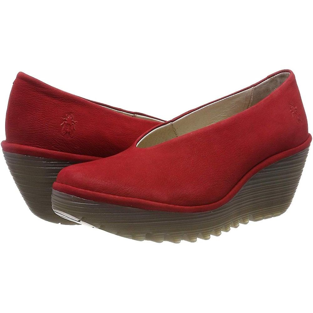 Fly London Yaz Wedge Round Toe Court Shoe - Low Heel Cupido Oil Suede