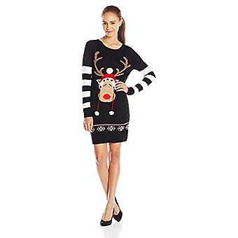 Blizzard Bay Junior's Christmas Tunic Sweater Dress with Reindeer Pom Poms, B...