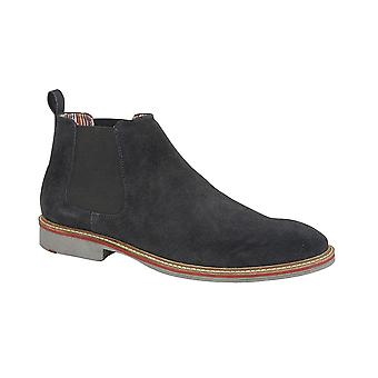 Roamers Navy Real Suede Gusset Boot Textile Lining Suede Sock Tpr Sole