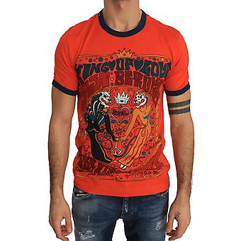 Dolce & Gabbana Orange Cotton Crewneck T-Shirt