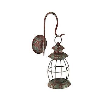 Distressed Metal Vintage Lantern Wall Mounted Candle Sconce