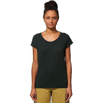 greenT Womens Organic Rounders Rolled Sleeve Slub T Shirt