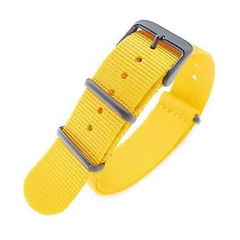 Strapcode n.a.t.o katsella hihna 20mm g10 sotilaallinen katsella bändi nylon hihna, keltainen, pvd musta, 260mm