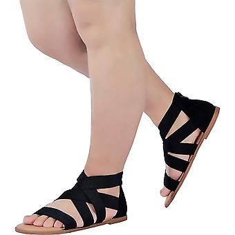 Women's Wide Width Flat Sandals - Open Toe One Band Ankle Strap Flexible Buck...