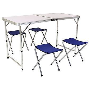 Charles Bentley Foldable Camping Furniture Set Portable Picnic Table 4 Chairs