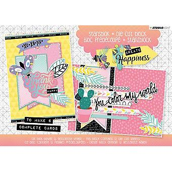 Studio Light Die leikata blocs A5 folio 12 sh Luo Happiness A5STANSBLOKCR20