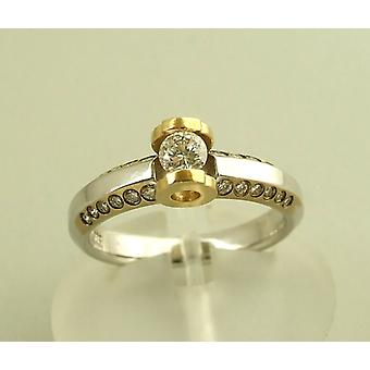 Bicolor Christian gold ring with brilliant