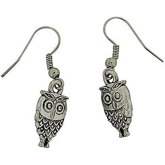 The Olivia Collection Silvertone Metal Owl Drop Earrings On Fishhook Wires