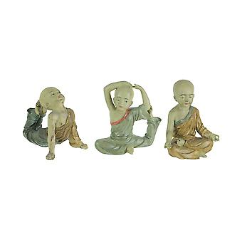 Wonderful 3 Piece Asian Child Monk Yoga Pose Statue Set