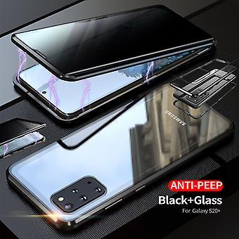 דו צדדי 360 תואר מגנט/זכוכית פרטיות מראה נרתיק מקרה טלפון במקרה מחבט שחור עבור Samsung Galaxy S20 פלוס G985F/5G G986B