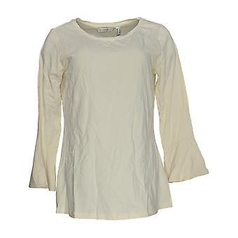 Isaac Mizrahi Live! Women's Top Scoop Neck m/Ruffle Sleeve Ivory A294436