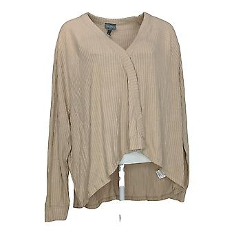 Anybody Women's Sweater Brushed Rib Hacci Cocoon Cardigan Beige A310154