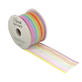 Metallic Pastel Rainbow 6cm x 10m Deco Mesh Roll for Wreath Making & Floristry
