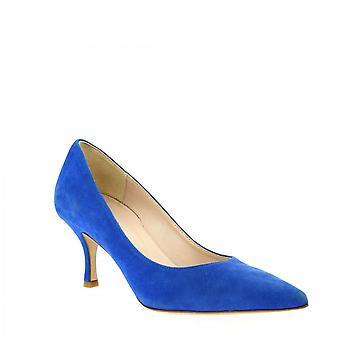 Leonardo Shoes Women's handgemaakte puntige middenhakken pumps schoenen blauw suède leer
