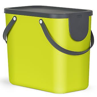 Rotho Albula Sistema de Separación de Residuos 25l para cocina, plástico (PP) libre de BPA, verde/antracita, 25l (40.0 x 23.5 x 34.0 cm)