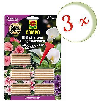 Sparset: 3 x COMPO Blomstrende planter Gjødsel pinner med guano, 30 stykker