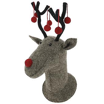 Fiona Walker England Grey Reindeer Felt Wall Head With Red Pom Poms