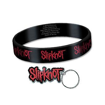 Slipknot Wristband y Keyring Classic Band Logo Repeat nuevo conjunto oficial de regalos