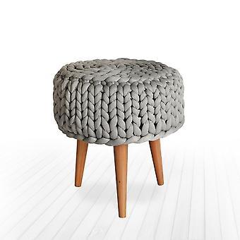 Pouf Hasana Grau Farbe, Baumwollholz, Polyester, L40xP40xA45 cm