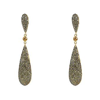 Green Peridot Olive CZ Large Drop Statement Earrings Gold 925 Silver Big Long