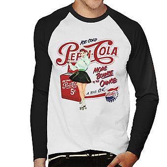 Pepsi Cola Ice Cold Retro Roller Skater Men's Baseball Long Sleeved T-Shirt