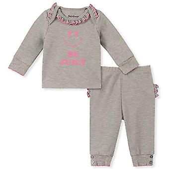 Juicy Couture Baby Girls 2 Pieces Pants Set, Gray, 12M