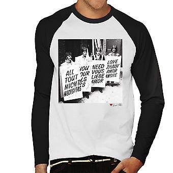 Kaikki mitä tarvitset on Beatles Love Abbey Road Studios 1967 valkoinen miesten Baseball pitkähihainen t-paita