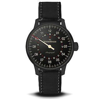 MeisterSinger Perigraph Automatic Black Dial Leather Strap Men's Watch AM1002BL