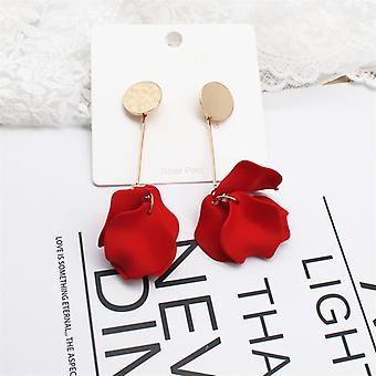 Elegant Red Rose Petal Drop earrings