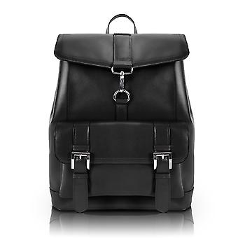 88025, Hagen Leather Laptop Backpack - Black