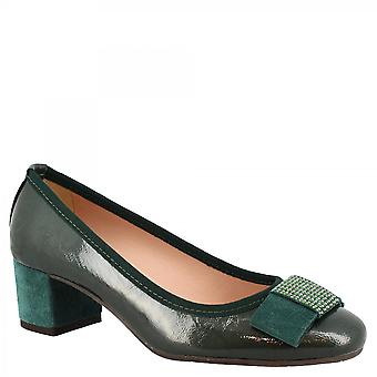 Leonardo Sko Kvinner's håndlagde midt hæler pumper sko i grønt laminert skinn med bue