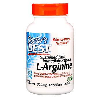 Doctor's Best, Sustained Plus Immediate Release L-Arginine, 500 mg, 120 Bilayer