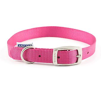 Ancol Nylon Buckle Collar - Raspberry Pink - 18 inch