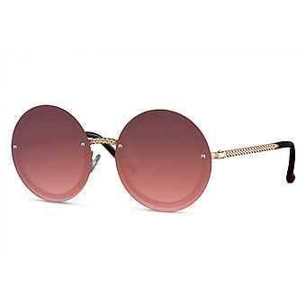 النظارات الشمسية السيدات جولة القط بلا حواف. 3 ذهبي/ وردي